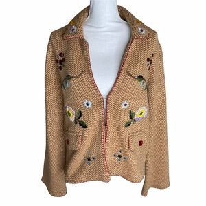 Soft Surroundings M vtg wool knit embroidered coat